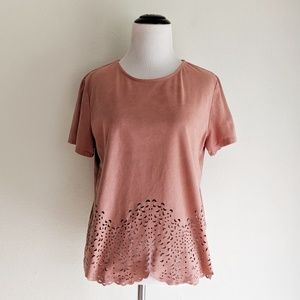 Shein Pink Faux Suede Top